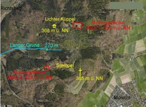 Abb. 2  Situation im Luftbild. Die Schutzhütte am Lichten Küppel und der Gipfel des Stempel sind durch gelbe Symbole exakt markiert