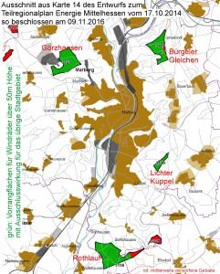 Ausschnitt aus Karte 14 des Entwurfs zum Teilregionalplan Energie Mittelhessen vom 17.10.2014, so beschlossen am 9.11.2016